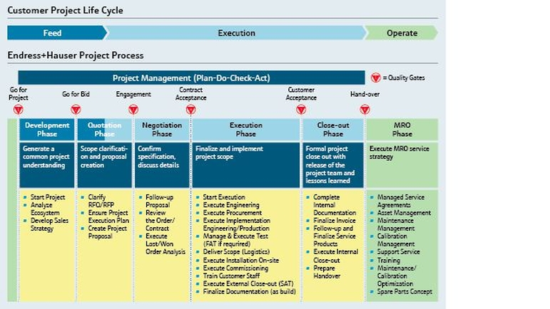 Graphic showing the business process of projects and Endress+Hauser